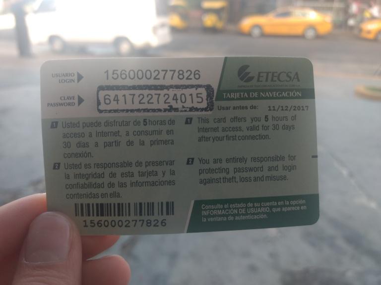 Cartão para o uso de internet em Havana, Cuba