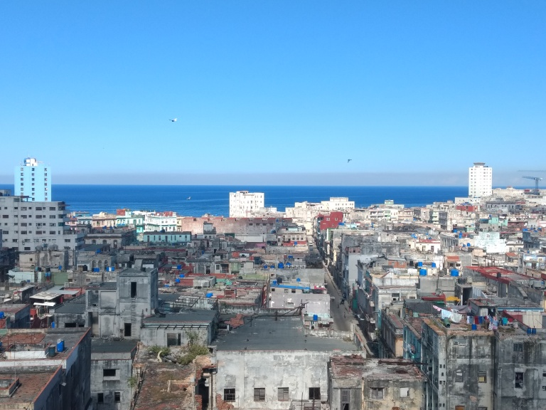 Vista de onde estava hospedada em Havana, Cuba